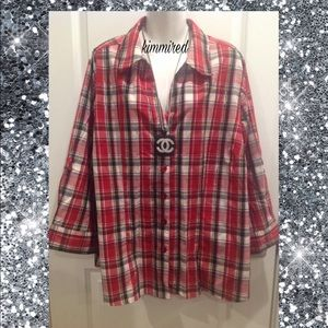 Cato Red/Black Plaid Button Down Shirt/Top ~22/24W